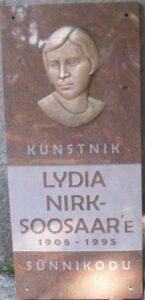 Autor Tiiu Kirsipuu Seinaplaat Lydia Nirk-Soosar 1905 - 1995